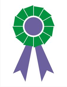 Free Award Ribbon Badge [Green+Electric Blue] Royalty Free Stock Image - 4306086