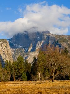 Half Dome Covered In Fog In Yosemite Stock Photos