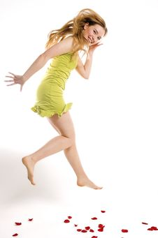 Free The Cheerful Blonde Jumps Stock Photo - 4308160