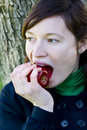 Free Young Woman Bitting An Apple Royalty Free Stock Image - 4310346