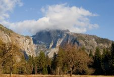 Half Dome Covered In Fog In Yosemite Royalty Free Stock Image