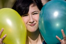 Cutie With Balloons Stock Image