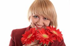 Free Woman In Red With Flowers Stock Photos - 4311663