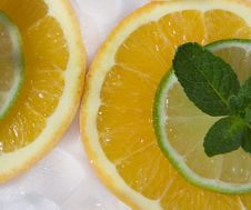 Lime And Orange Segments Whith Mint Royalty Free Stock Image