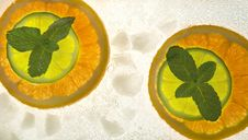 Lime And Orange Segments Whith Mint Stock Images