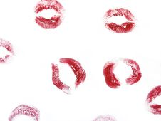 Free Random Red Kisses On A White Royalty Free Stock Photography - 4312377