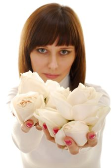 Free Roses In Her Hands Stock Image - 4312401