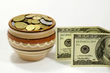 Free Coins And US Dollars Stock Photography - 4312602