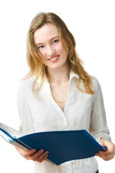 Free Woman With A Folder In Hands Stock Images - 4313014