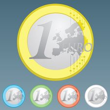 Euro Currency Coin Of One Euro