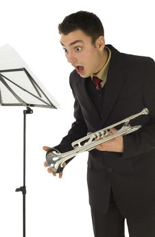 Free Suprised Trumpeter Royalty Free Stock Photo - 4314805