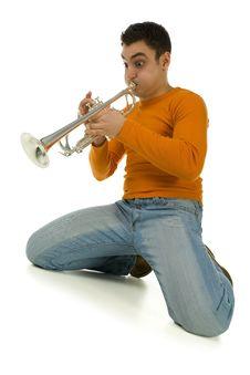 Free Kneeling Trumpeter Stock Images - 4314834