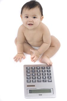 Free Baby With Pocket Calculator Stock Photos - 4316233