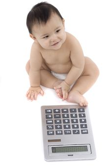 Free Baby With Pocket Calculator Royalty Free Stock Images - 4316289