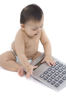 Free Baby With Pocket Calculator Royalty Free Stock Images - 4316349