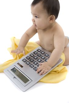 Free Baby With Pocket Calculator Royalty Free Stock Photos - 4316438