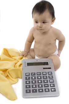 Free Baby With Pocket Calculator Stock Photos - 4316453