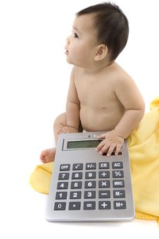 Baby With Pocket Calculator Stock Photos
