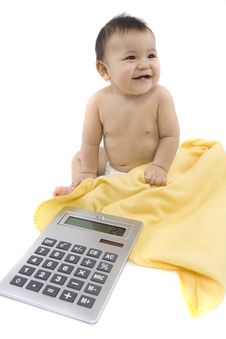 Free Baby With Pocket Calculator Royalty Free Stock Images - 4316519