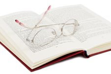Free Open Book With Glasses Royalty Free Stock Photography - 4316627