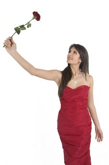 Free Girl And Rose Stock Image - 4316931