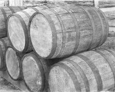 Free Barrels By Cabin Wall Royalty Free Stock Photo - 4317075