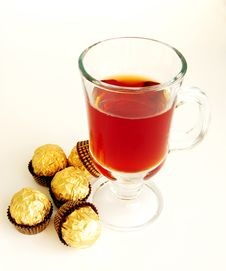 Tea And Candies On A White Background Royalty Free Stock Images