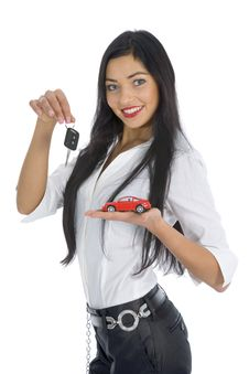 Free Business Woman Advertises Selling The Cars Royalty Free Stock Photo - 4321435
