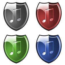 Free Shields With Musical Notes Stock Photos - 4323433