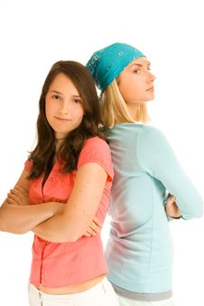 Two Teenage Girl In Odds Stock Photography
