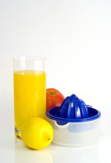 Free Glass Of Orange Juice, Squeezer On White Backgrou Royalty Free Stock Image - 4323966