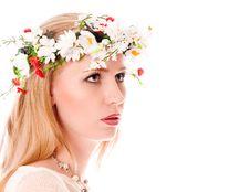 Pretty Spring Girl With Wreath On Head Stock Photos