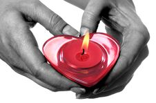 Free Female Hands Holding Red Heart Shaped Candle Royalty Free Stock Photo - 4329225