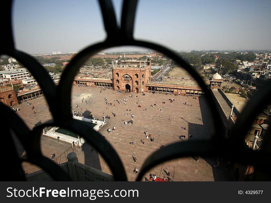 View from minaret tower atJama Masjid