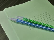 Back To School Concept. Thin Green Notebooks With