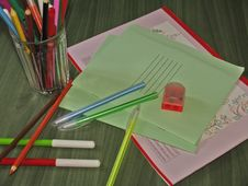 Free Back To School Concept. School Stationery Set On T Stock Photography - 43221402