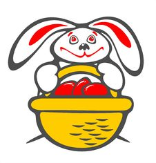 Free Rabbit And A Basket With Eggs Royalty Free Stock Image - 4330706