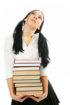 Free Woman With Pile Books Stock Image - 4330911