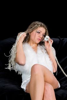 Portrait Sexual Girl With Telephone Royalty Free Stock Photography