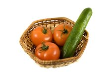 Free Basket With Tomatoes And Cucumber Royalty Free Stock Images - 4331669