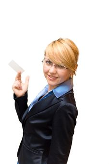 Free Businesswoman Show Business Card Royalty Free Stock Photography - 4333457