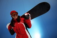 Free Young Adult Female Snowboarder Stock Photography - 4336012