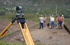 Working On Archeological Site With Theodolite Stock Images