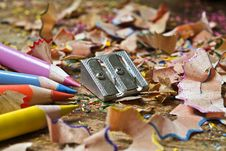 Free Colored Pencils Sharpener And Shavings Stock Image - 4336621