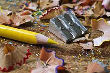 Free Yellow Pencil And Shavings Royalty Free Stock Photos - 4336638