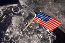 Free American Flag On The Clear Solid Ice Stock Image - 4337011