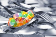 Free Colorful Candy On Spoon Royalty Free Stock Images - 4338149