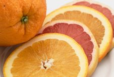Sliced Orange And Pink Grapefruit Royalty Free Stock Photo