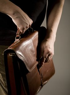 Hand Opening Briefcase Royalty Free Stock Image