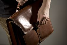 Hand Opening Briefcase Stock Photography